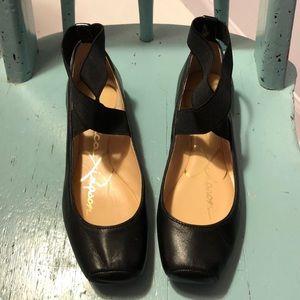 Jessica Simpson black leather elastic ballet flats